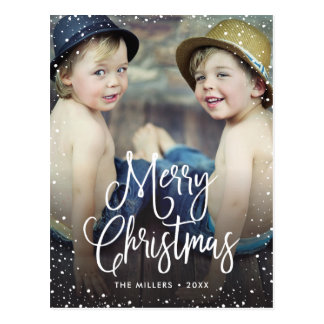 Glückliches Feiertags-Schnee-WeihnachtsFoto Postkarte
