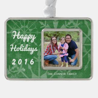 Glückliches Feiertags-Schneeflocke-Foto-Andenken Rahmen-Ornament Silber