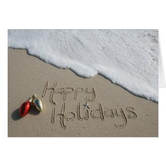 Glückliches Feiertags-Strand-Karten-Weihnachten Karte
