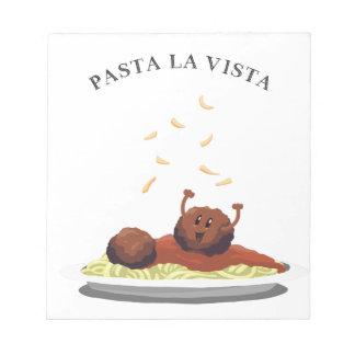"""Glückliches Fleischklöschen-""""Teigwaren-La Vista! """" Notizblock"""