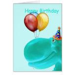 Glückliches Flusspferd-aquamariner Geburtstag Karte