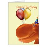 Glückliches Flusspferd-orange Geburtstags-Karte