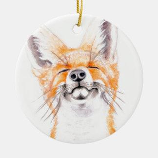Glückliches Foxy Rundes Keramik Ornament