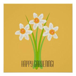 Glückliches Gartenarbeit-Weiß-Narzissen-Gelb Perfektes Poster