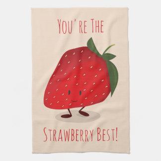 Glückliches Geschirrtuch des Erdbeercharakter-|