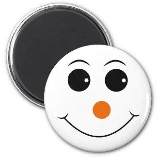 glückliches Gesicht mit orange Nasenvektor Runder Magnet 5,7 Cm