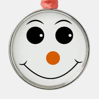 glückliches Gesicht mit orange Nasenvektor Rundes Silberfarbenes Ornament