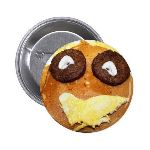 Glückliches Gesichts-Frühstück Anstecknadelbutton