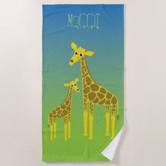 Glückliches Giraffenfamilien-Badetuch Strandtuch