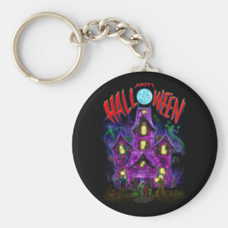Glückliches glühendes Spuk Haus Halloweens Schlüsselanhänger