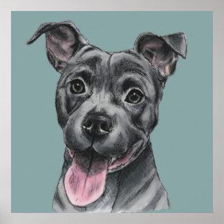 Glückliches graues Gruben-Stier-Hundezeichnen Poster