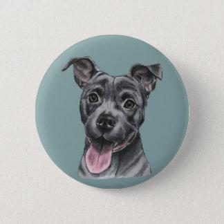 Glückliches graues Gruben-Stier-Hundezeichnen Runder Button 5,7 Cm
