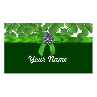 Glückliches grünes Kleeblattmuster Visitenkarten