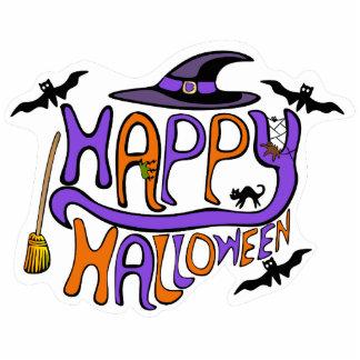 Glückliches Halloween-Beschriftungs-Button Fotoskulptur Button