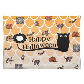 Glückliches Halloween emoji Stofftischset