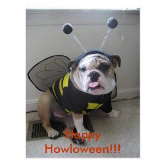 Glückliches Halloween, englische Bulldogge Postkarte