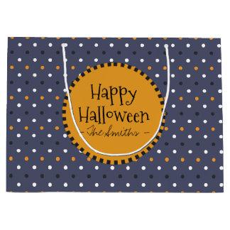 Glückliches Halloween färbt Polka-Punkte Große Geschenktüte