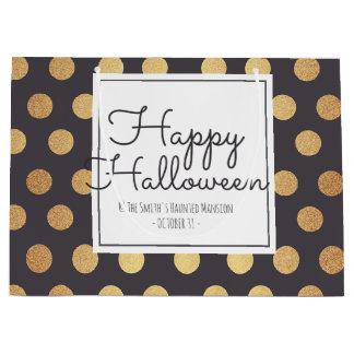 Glückliches Halloween. Goldfolien-Polka-Punkte Große Geschenktüte