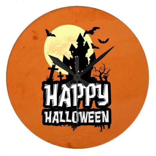 Glückliches Halloween Große Wanduhr