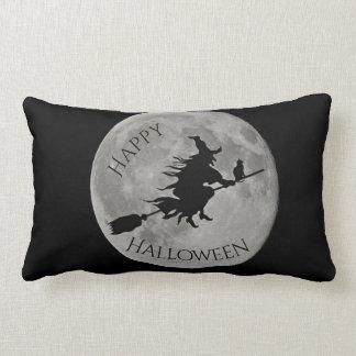 Glückliches Halloween-Hexe-Mond-Spinnen-Kissen Lendenkissen