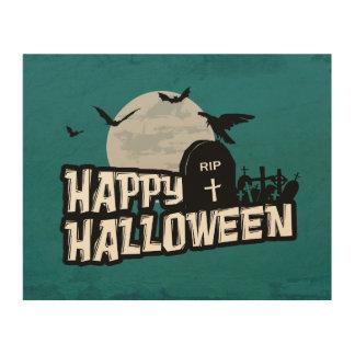 Glückliches Halloween Holzdruck