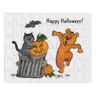 Glückliches Halloween! Katzen-Schläger-Hund und Puzzle