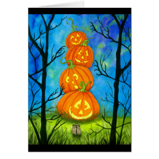 Glückliches Halloween-Kürbis-Totem durch Bihrle Karte