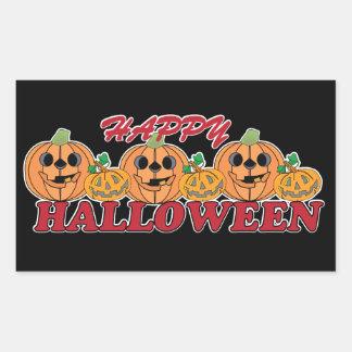 Glückliches Halloween mit glücklicher Kürbis-Reihe Rechteckiger Aufkleber