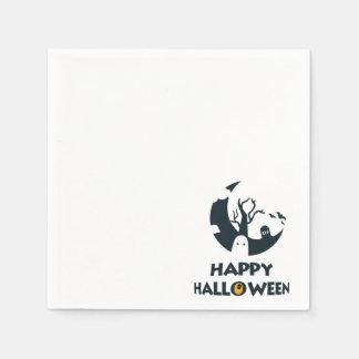 Glückliches Halloween mit Mond und Friedhof Serviette