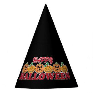 Glückliches Halloween mit Reihe der glücklichen Partyhütchen