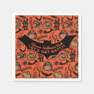 Glückliches Halloween-Party - lassen Sie uns Batty Serviette