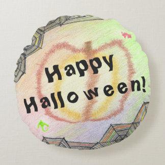 Glückliches Halloween! Spielerisches buntes rundes Rundes Kissen