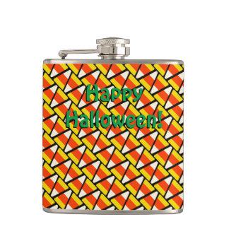 Glückliches Halloween-Süßigkeits-Mais-Muster Flachmann