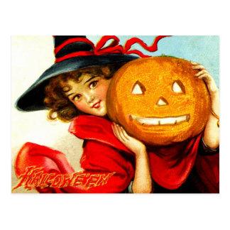 Glückliches Halloween von der Hexe im Rot Postkarte
