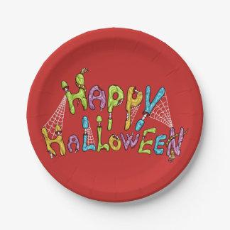 glückliches Halloween - Zombie-Graffiti Pappteller