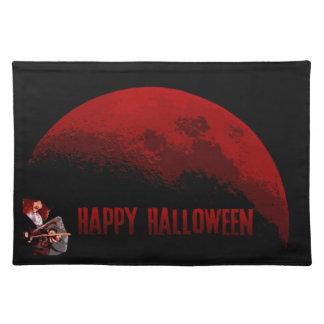 Glückliches Halloweenhexe-und -mond-Tischset Stofftischset