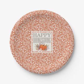 Glückliches Herbst-Ernte-Blatt-Muster des Pappteller