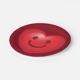 Glückliches Herz Emoji Pappteller