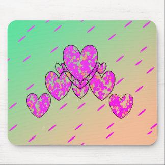 Glückliches Herz-Glühen (c) - Lime-Pink_ Mauspads
