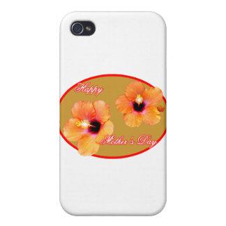 Glückliches Hibiskus-Goldrotes Oval der Mutter Tag Etui Fürs iPhone 4