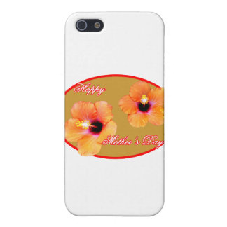 Glückliches Hibiskus-Goldrotes Oval der Mutter Tag iPhone 5 Cover