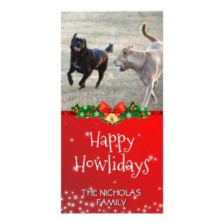 Glückliches Howlidays | HundeweihnachtsFoto-Rot Karte