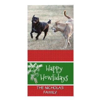 Glückliches Howlidays | HundeweihnachtsFoto-rotes Karte