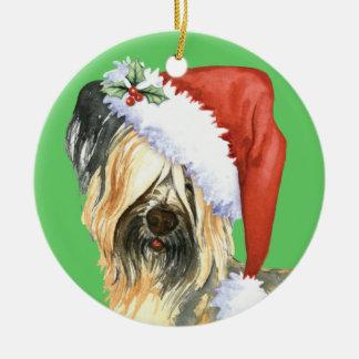 Glückliches Howlidays Skye Terrier Rundes Keramik Ornament