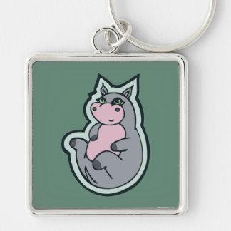 Glückliches junges graues Flusspferd-aquamariner Schlüsselanhänger