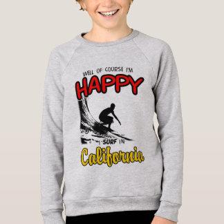 GLÜCKLICHES KALIFORNIEN-SURFER 2 Schwarzes Sweatshirt