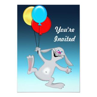 Glückliches Kaninchen mit Ballonen 12,7 X 17,8 Cm Einladungskarte