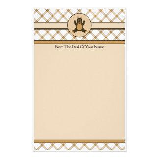 Glückliches kariertes Briefpapier Brown-Bärn-TANs