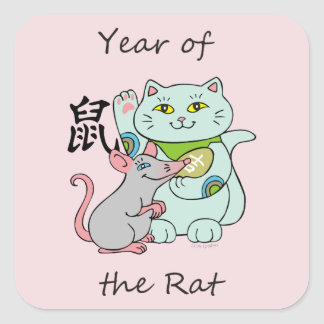 Glückliches Katzen-Jahr der Ratte Quadratischer Aufkleber