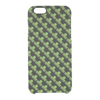 Glückliches Kleeblatt-Muster, Schwarzes und Grün Durchsichtige iPhone 6/6S Hülle
